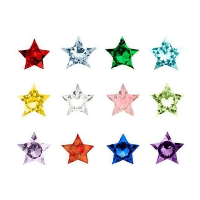 12Colors Heart/Round/Star Crystal Birthstone Charms Floating Birthday Stone Char