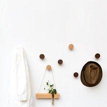 2Pcs Natural Wooden Coat Hooks, Wall Mounted Single Cone Wall Hook Rack, Decorat image 6