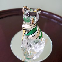 Glass Cat Figurine on mirrored base, painted with yellow green stripes, Kitty image 3