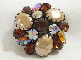 Vintage AMBER TOPAZ AB Rhinestone Faux PEARL Brooch Pin Japanned Domed A... - $34.64