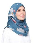 BOKITTA ETERNAL BLUE - PRINTED SMOOTH CHIFFON INSTANT HIJAB Muslim Scarf... - $55.62+