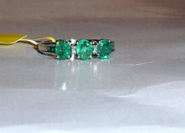 AFRICAN GREEN EMERALD OVAL & DIAMOND 3-STONE RING, 925 SILVER, SIZE 7, 1.35(TCW) - $99.99