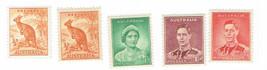 Australia King George VI Set of 5 Postage Stamps Mint Never Hinged