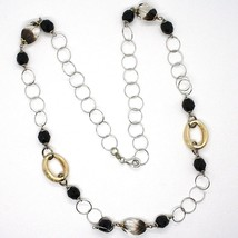 Necklace Silver 925, Ovals Satin Yellow, Nugget Bicolor, Chain Rolo ' , 60 CM image 2
