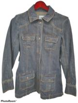 Old Navy Women Jean Jacket Denim Blue Dark Wash Size Medium 100% Cotton - $29.69