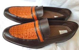 Two Tone Men's Crocodile Leather Shoes Genuine Tan Brown Moccasin Size US 9-10 - $279.99+