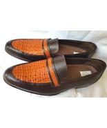 Two Tone Men's Crocodile Leather Shoes Genuine Tan Brown Moccasin Size U... - $279.99+