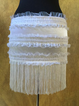 Pick Size-White Victorian Lace Moulin Burlesque Costume Shimmy Fringe Mi... - $29.99