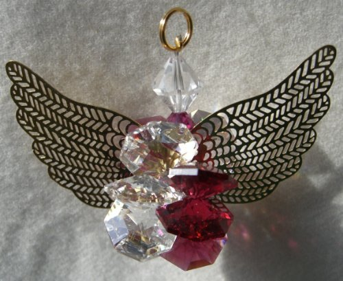 J'Leen Clear and Bordeaux Suncluster Crystal Angel Ornament