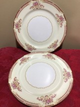 "2 Noritake Occupied Japan dinner Plates approx. 10"" Red border Pink Flow... - $12.19"