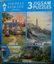 Thomas Kinkade Studio Jigsaw Puzzle Landscapes  (3 Puzzles In One) **New** - $16.82