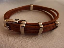 RALPH LAUREN Polo Bracelet Wristband Saddle Brown Leather Silvertone Har... - $26.41