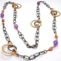 925 Silver Necklace, Burnished and Pink, Circles, Amethyst, Agate, Length 100 cm image 3