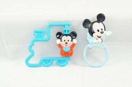 Vintage 1984 1990 Disney Playskool Baby Ring Rattle Mickey Mouse & Train... - $9.28