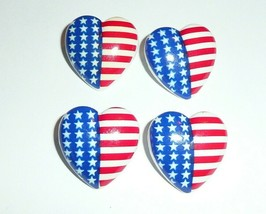 Adorable U.S. Flag Heart Plastic Shank Buttons (4)  American Flag Button... - $4.94