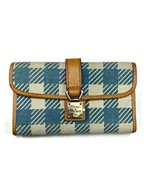 Dooney & Bourke Button Lock Clasp Tri Fold Check Wallet Blue and White - $55.19