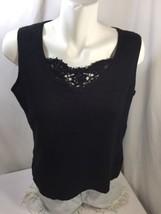 Hampshire Women Tank Top Cotton Regular Fit Floral  Scoop Neck Black L - $10.40