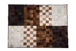 Aydin Mosaic Brown White Natural Cowhide Patchwork Area Rug Rectangl 6'7... - $499.00