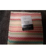 New !  4 Piece Kitchen Set,  Multi-Colored Bright Striped  Towels  100 %... - $14.64