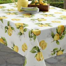 "Benson Mills Limoncello Lemons Indoor/Outdoor Tablecloth 84"" Oblong - $36.00"