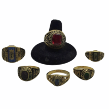 Vtg Class Ring 6 Lot Yellow Gold Tone Metal Semi Precious Red Blue Green 42.1gr image 1