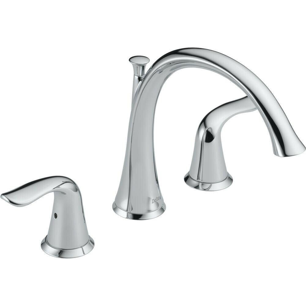 Primary image for Delta Lahara Deck Mount Roman Tub Faucet Trim Kit Only Chrome #T2738 (Scuffs)