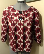 New Michael Kors Twill Peasant Jacket S Red Beige Ethnic Print Blazer Coat Linen - $49.49