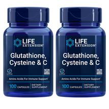 L-Glutathione, Cysteine and Vitamin C 2X100Caps Amino Acid Immune Life Extension - $32.62