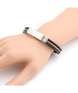 UNITED ELEGANCE Unisex Stainless Steel & Rubber Bracelet with Brass Accent - $9.99