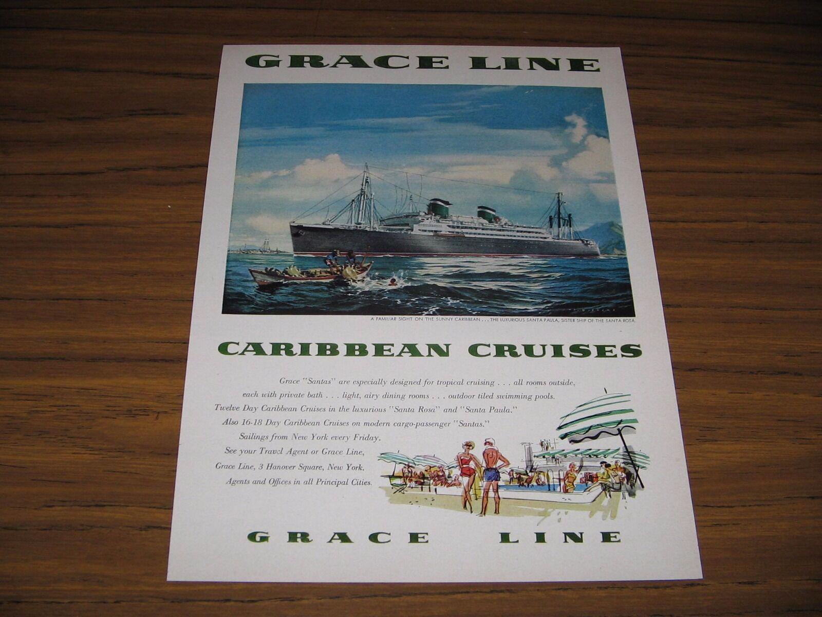 1955 Print Ad Grace Line Carribbean Cruise Ship  Santa Paula - $15.67