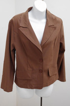 Mango Sz M Jacket Brown Stretch Blazer Career Casual Medium - $18.60