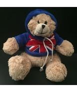 Teddy Bear Plush UK Flag Hoodie Union Jack Small Stuffed Animal Beige So... - $13.85