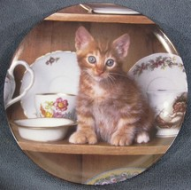 Teatime Tabby Collector Plate Picture Purrfect Crestley Collection Kitte... - $14.95