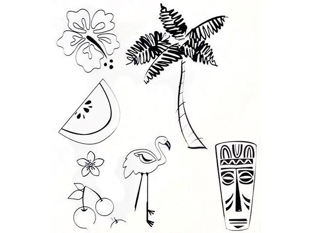 Stampabilities Tropical Rubber Cling Stamp Set #239063-UM017