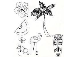 Stampabilities Tropical Rubber Cling Stamp Set #239063-UM017 - $6.99