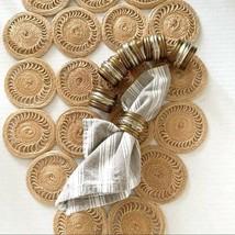 Vintage Set of 6 Silver Brass Tone Napkin Rings - $19.35