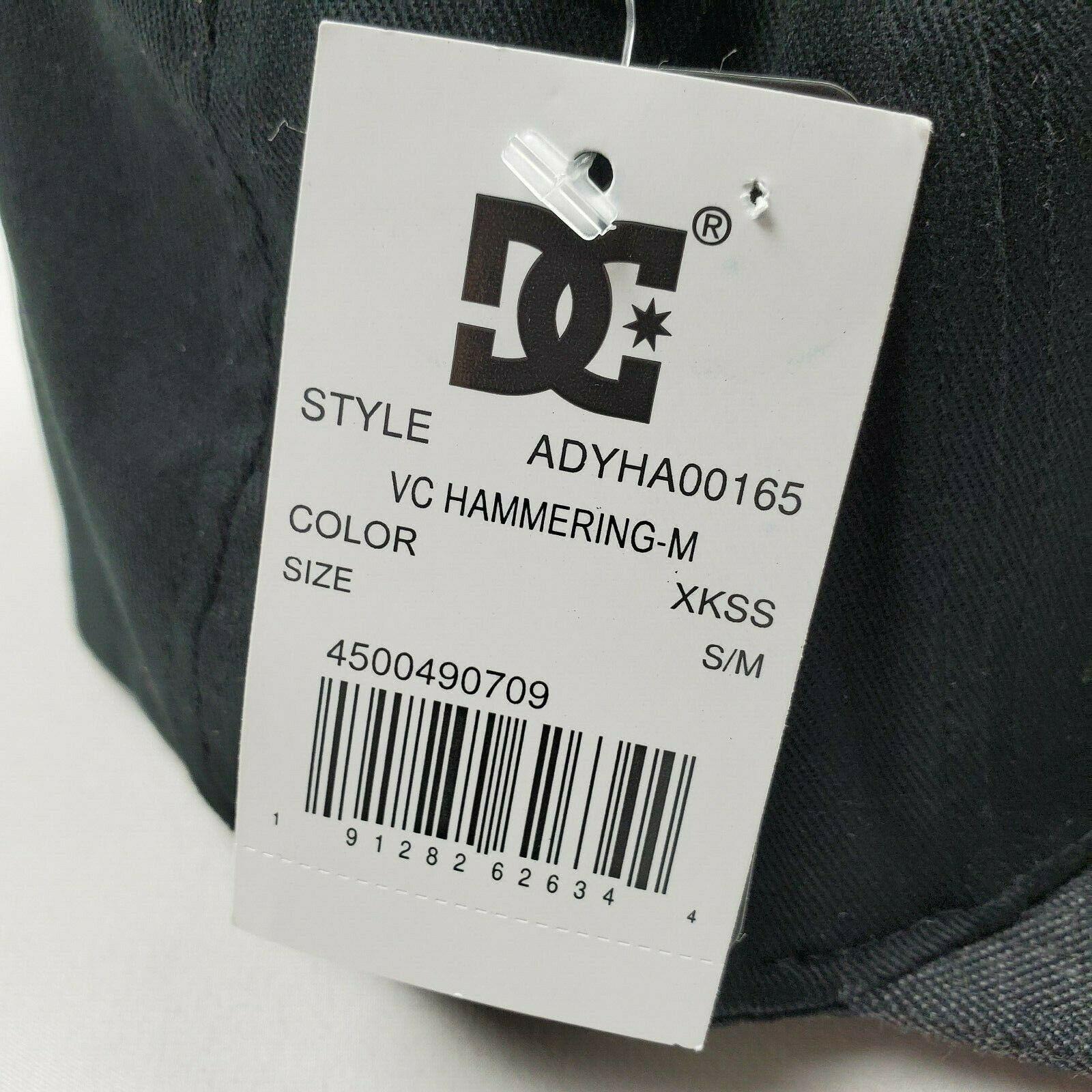 DC Shoes Flexfit Fitted Hammering Black Hat Mens Size S/M