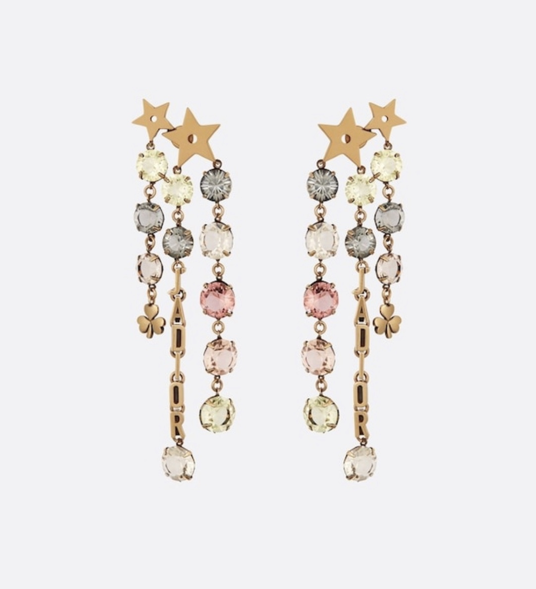 AUTH Christian Dior 2019 J'ADIOR NUANCE MULTI STRAND DANGLE STAR EARRINGS CRYSTA