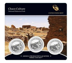 2012 PDS US Mint America The Beautiful 3 Coin Set Chaco Culture Hist Par... - $23.95
