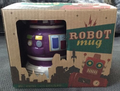 Primary image for Novelty Robot Mug - Coffee Tea Cup Retro Geek Funky Boxed Gift Ceramic Purple