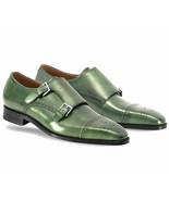 Green Tone Cap Toe Stylish Vintage Superior Leather Men Buckle Straps Mo... - $139.99+