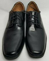 Clarks Mens Tilden Lace Up Dress Oxfords Black Leather Shoes Size 11 M N... - $64.99