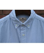 Woolrich Shirt Men's MEDIUM 100% Cotton Short Sleeve Navy Stripe White B... - $14.50