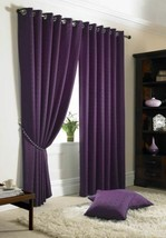 Jacquard Check Purple Lined Anneau Top Eyelet Curtains Drapes 6 Sizes - $54.16+