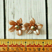 vintage brown molded plastic double flower brooch pin in antique gold tone - $14.10