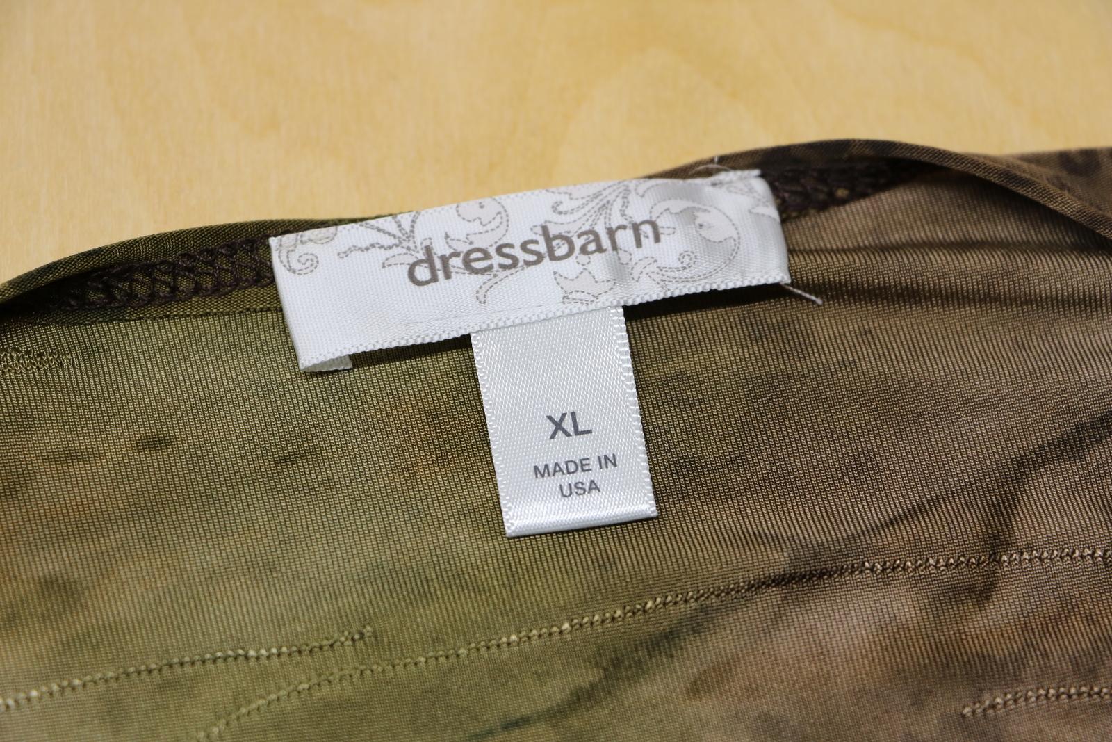 DressBarn Woman's XL Olive Green Jeweled Polyester Geometric Blouse Dress Barn