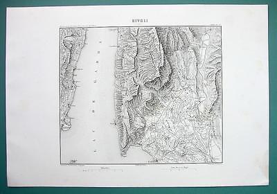 1846 MAP - ITALY Environs of Garda Rivoli Castelletto Prada Spiazzi Toscolano