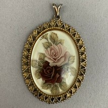 Vintage Translucent Clear Oval Pink Rose Pendant Gold Tone Open Work - £8.36 GBP