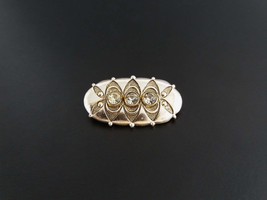 Vintage siver tone brooch with 3 clear rhinestones Made in USSR Vintage ... - $16.00