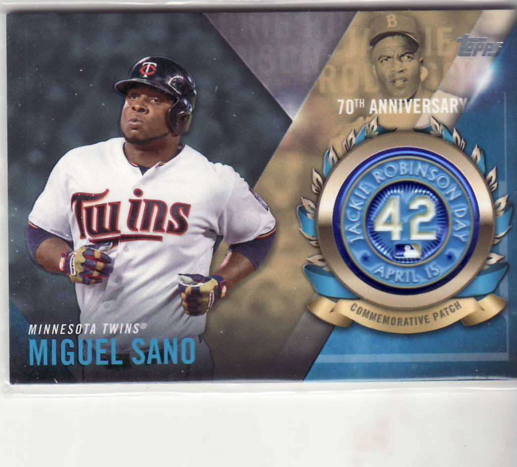 Primary image for 2017 MIGUEL SANO TOPPS JACKIE ROBINSON LOGO PATCH CARD